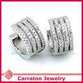 Carraton esch8060 solid 925 micro pave configuración cz huggie pendientes diamante