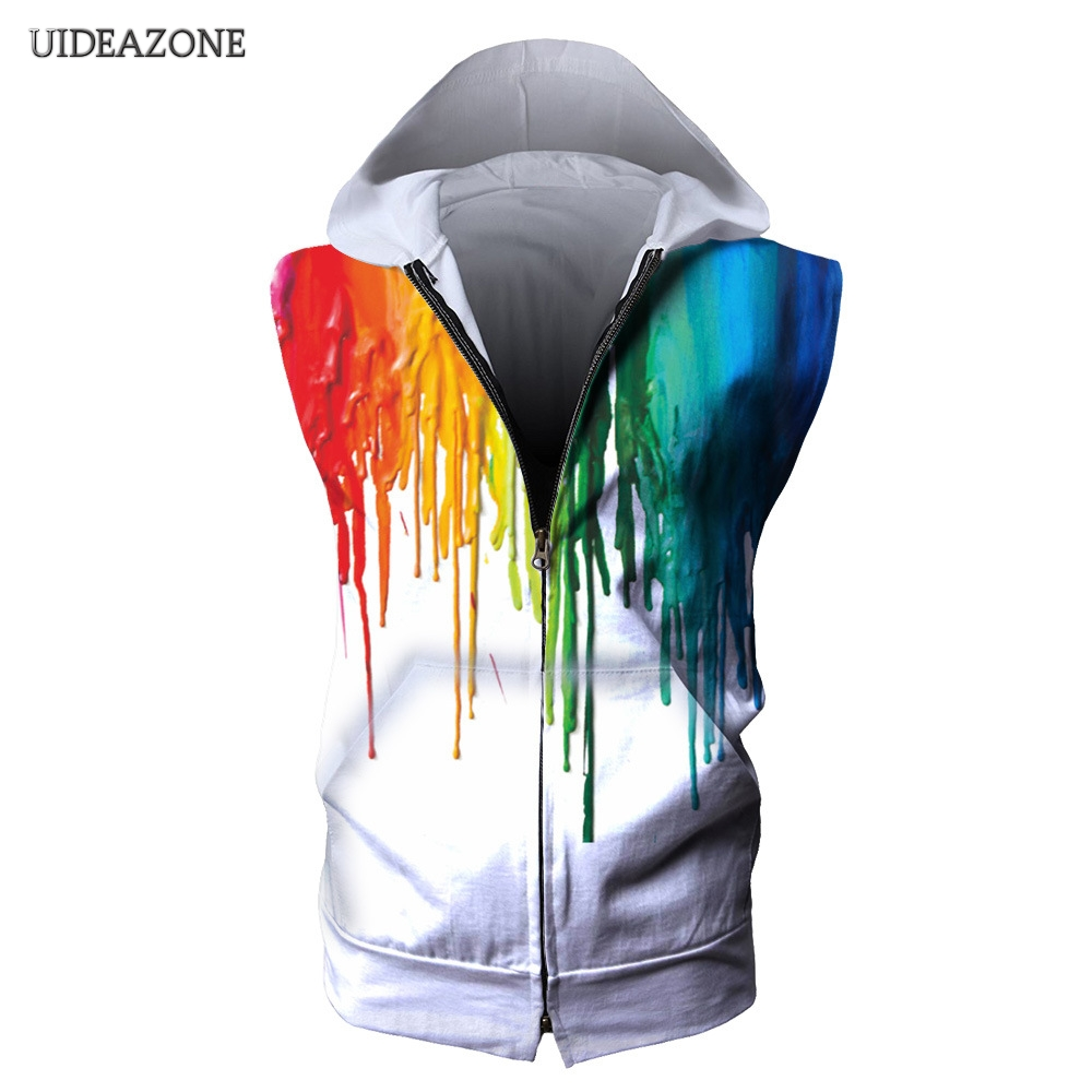 2018 New 3D Zipper Hoodie Colorful Oil Painting Design Cool Sleeveless Sweatshirt Men Women Casual Fashion Sportwear Dropship