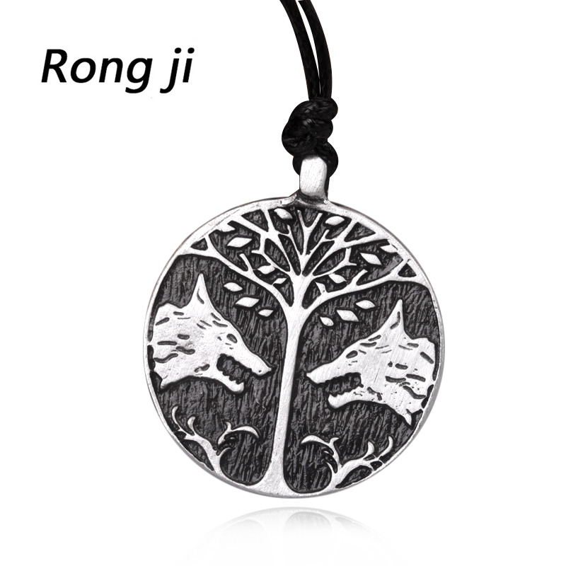 2colour New Fashion Destiny Peace Tree and Wolf talisman Round Pandent Necklaces for men and women factory outlet
