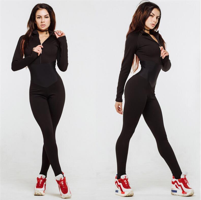 new arrival women sporting fitness   jumpsuit   autumn winter full sleeve zipper turtleneck skinny slim female casual bodysuit