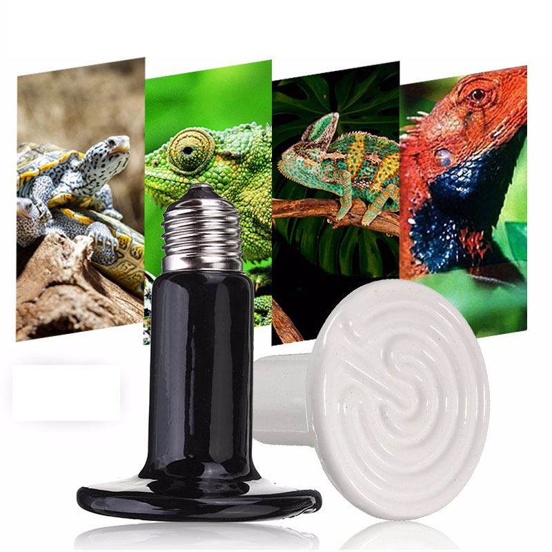 Pet Winter Heating Lamp E27 Infrared Emitter Ceramic Heat Bulb For Reptile Pet Brooder 75mm 25W/50W/75W/100W/150W/200W 110V/220V 110v 120v 100w poultry ceramic heating emitter black heating lamp for pet heating bulb for reptile with socket e26