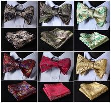 86953c96b9ef Floral Paisley 100%Silk Woven Men Butterfly Self Bow Tie BowTie Pocket  Square Handkerchief Hanky