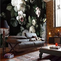 Free Shipping Custom 3D Hand Painted Black Flowers Wallpaper Living Room TV Background Bedroom Wallpaper Mural