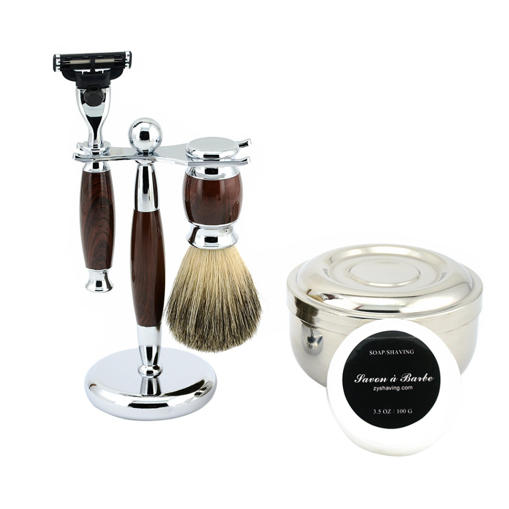 ZY Men Classic Wet Shaving Kit Safety <font><b>Blade</b></font> Razor +Pure Badger Shave Beard Brush + Razor Stand Holder + Bowl + Shaving Soap Set