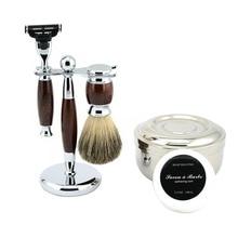 ¿Y los hombres de Kit de afeitado cuchilla de seguridad afeitar + tejón puro afeitado la barba + soporte de afeitar titular + Bol + afeitado jabón