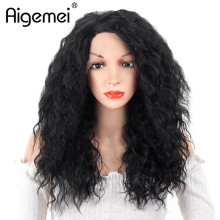 Aigemei 100% High Temperature Fiber Synthetic Fiber Women Wig #1B Black Color  Curly Cosplay Hair Wig For Female