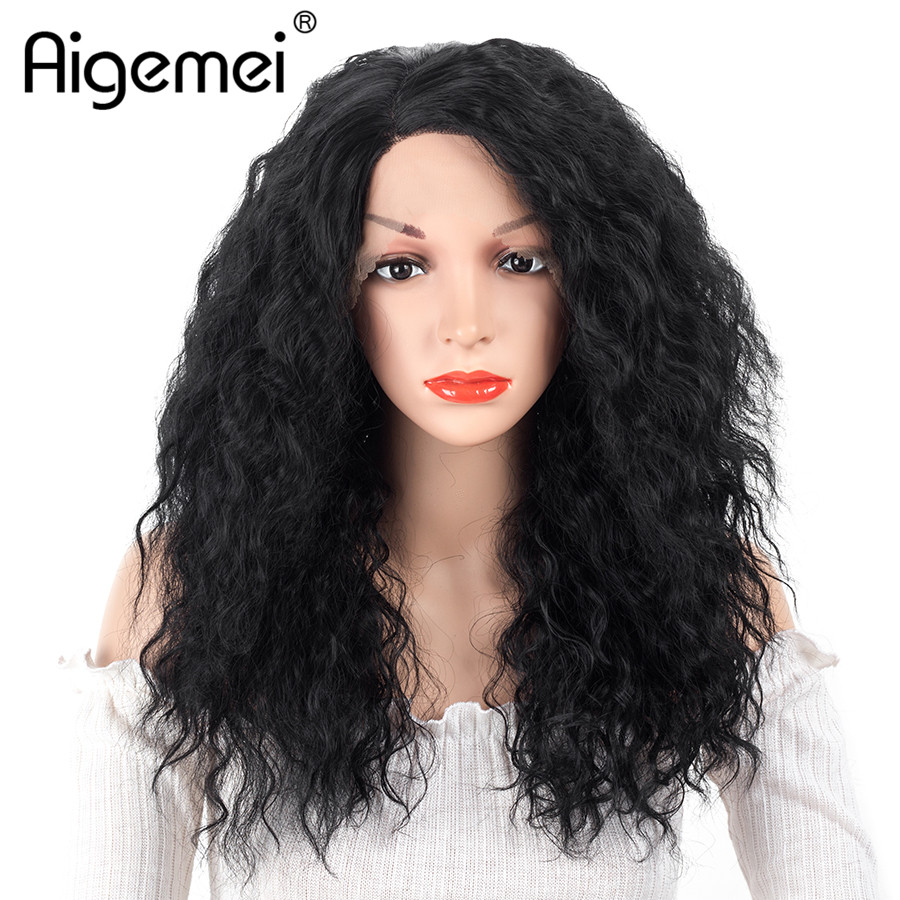 Aigemei 100% Kanekalon Synthetic Fiber Women Wig #1B Black Color Curly Cosplay Hair Wig For Female