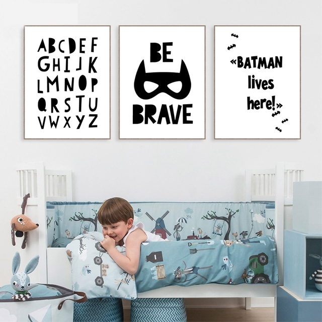 Nordic Style Superhero Batman Canvas Painting Wall Picture , Superhero Quote Canvas Art Print Boys Room Decor Wall Art Poster 1