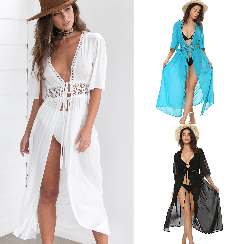 3 Color Sexy Bikini Cover Up Women Beach Dress 2019 Swimwear Chiffon Plus Size Bathing Suit Maxi Dress Bandage Kimono Cardigan