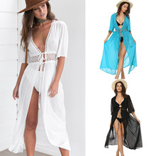 3 Color Sexy Bikini Cover Up Women Beach Dress 2019 Swimwear Chiffon Plus Size Bathing Suit Maxi Dress Bandage Kimono Cardigan(China)