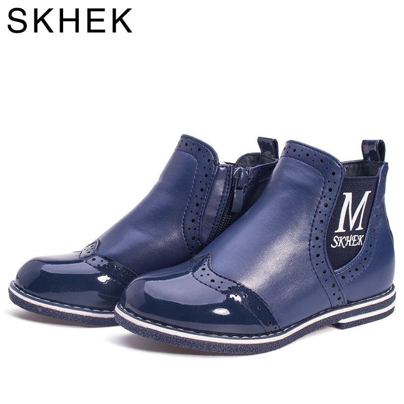 SKHEK Winter Children Boots Rubber Outsole Ankle Girl Shoes For Kids Boots PU Leather Blue Girls Waterproof Shoe C1536 in Boots from Mother Kids