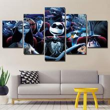 5 Pieces Canvas The Nightmare Before Christmas Modular Pictures panel painting Wall Art poster and prints ny-142
