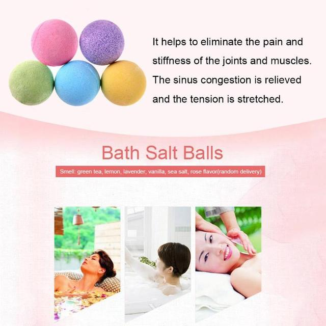1pc Bath Salt Ball Body Skin Exfoliate Whitening Ease Relaxion Stress Relief Natural Bubble Shower Bomb Ball 5color Cleaner Spa 2
