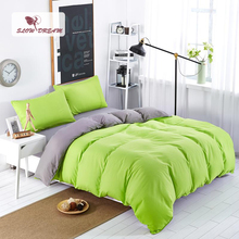 SlowDream Gray And Green Solid Color Bedding Set Japan Style Bed Linen Nordic Sheet Flat Double Queen Bedspread Duvet Cover