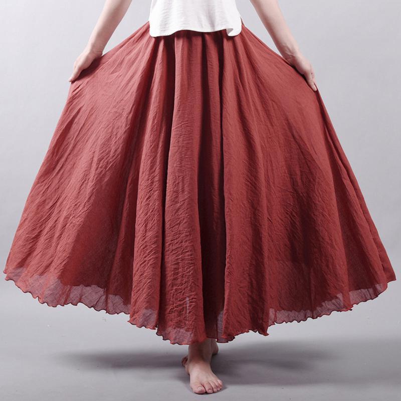 Ny mode kvinder Boho Vintage plisseret Maxi nederdel 2018 - Dametøj - Foto 6