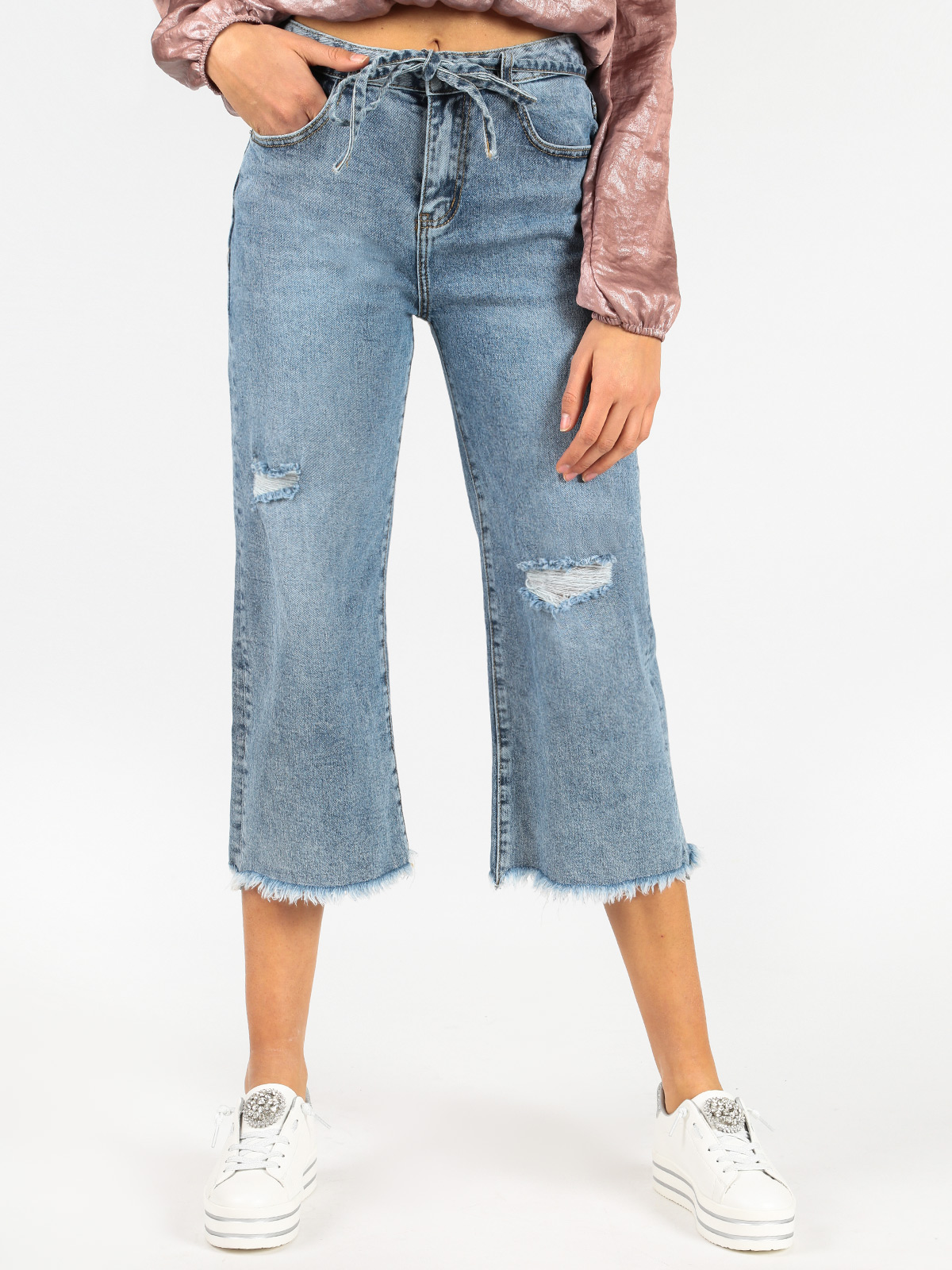 LITTLE BUTTERFLY Boyfriend Jeans Frayed Under