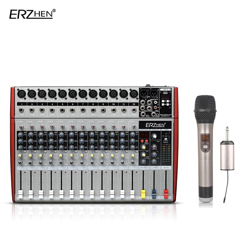 Audio Mixer Console W6000T12 Professional Mixer Audio Amplifier Sound Processor 12 Channel professional 4 channel live mixing studio audio sound console network anchor portable mixing device vocal effect processor