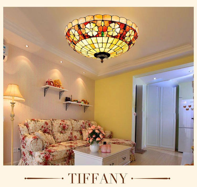 Mediterranean Baroque Shell E27 110-240V LED Tiffany retro Ceiling Lights luminaria teto Ceiling Lamps For Home Decoration mediterranean style tiffany shell ceiling lamp 20 25 30 35 40cm e27 ac 110 240v led ceiling lights luminarias light fixture