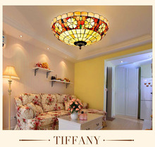 Mediterranean Baroque Shell E27 110-240V LED Tiffany retro Ceiling Lights luminaria teto Ceiling Lamps For Home Decoration