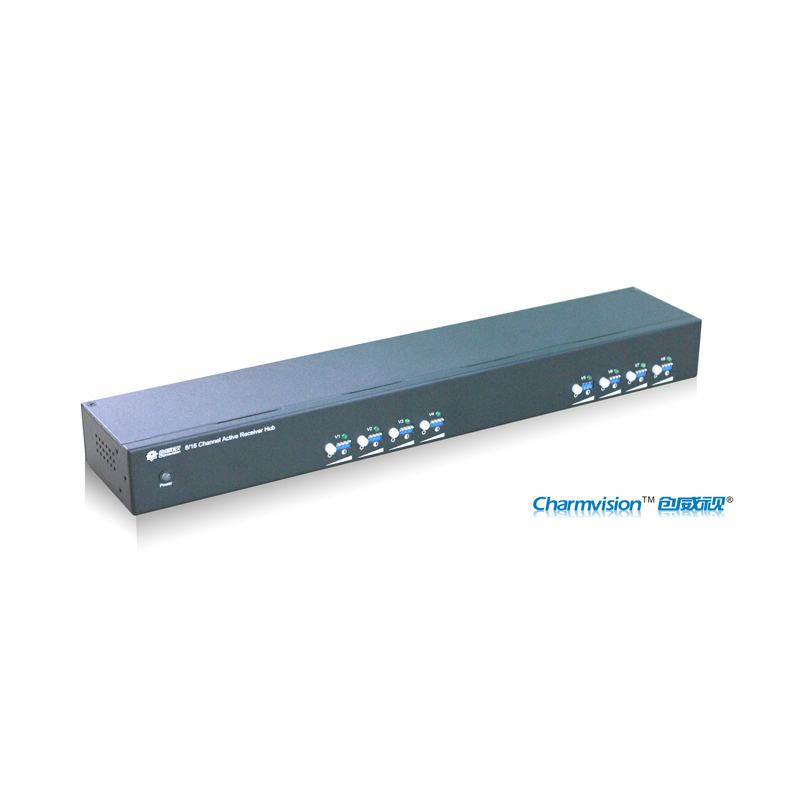 Charmvision ETV8D-P powerd 8 ports RJ45 channels CCTV analog camera twisted pair video receiver rack-mounted active type