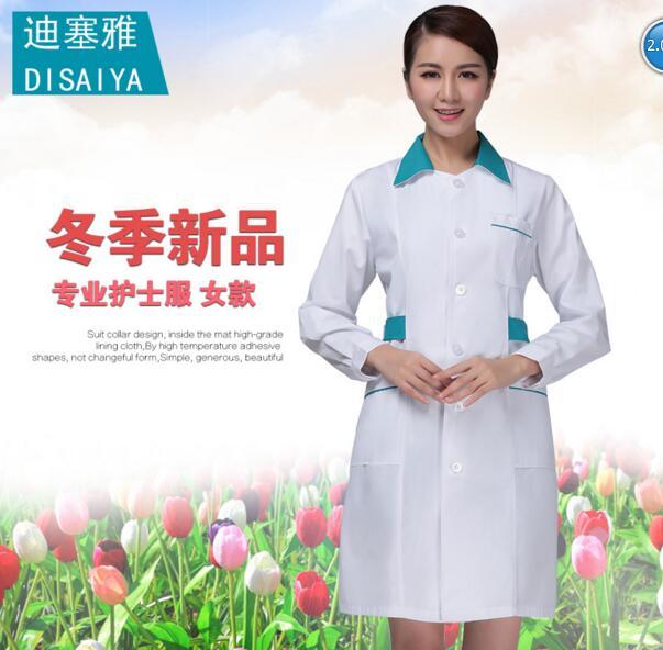 European and USA style Hospital Winter long-sleeve doctor clothing eco-friendly Women antibiotic white coat nurse clothing