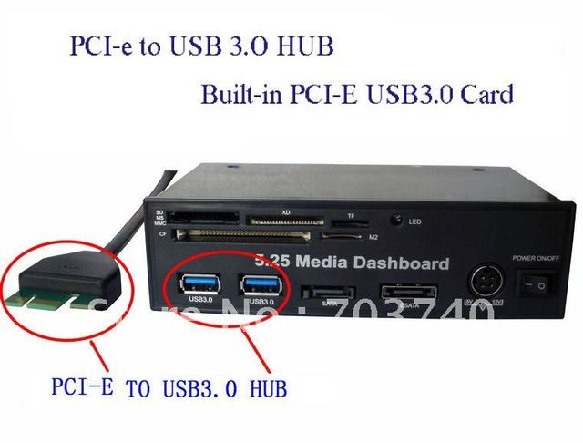 5.25 Media Dashboard PCI-e to USB 3.0 HUB and USB2.0 All-in-one card reader with SATA AND ESATA Slot