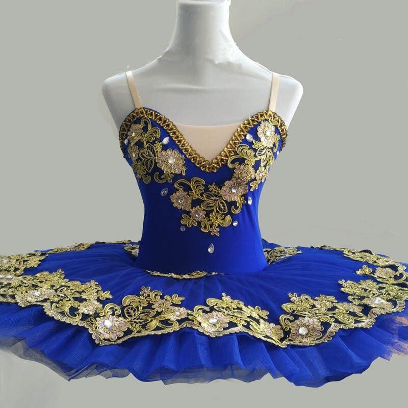 Ballet professionnel Tutus bleu adulte plaque à crêpes lac des cygnes Costume de Ballet ballerine Tutu Spandex vêtements de danse