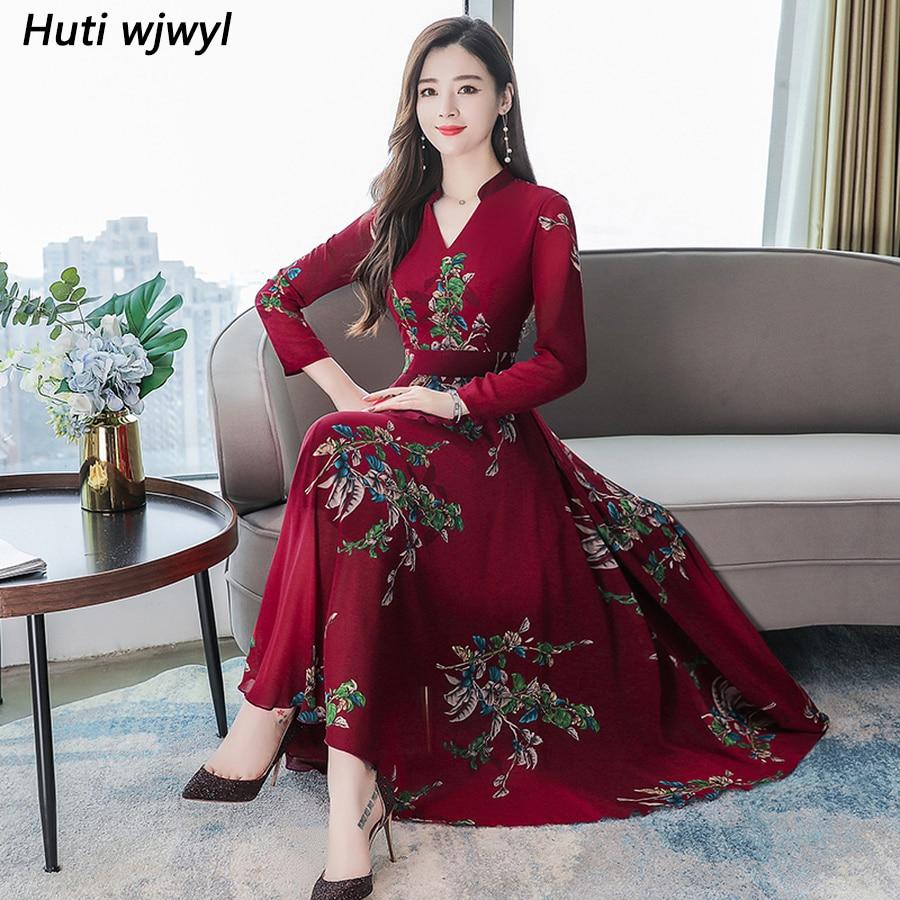 2019 винтажное 3XL размера плюс платье макси с длинным рукавом осень зима цветочные шифоновые миди платья элегантные женские облегающие вечерние платья