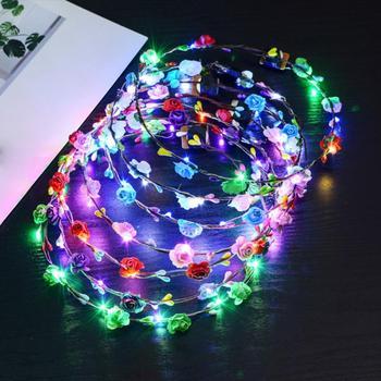 Colorful Christmas Party Glowing Wreath Halloween Crown Flower Headband Women Girls LED Light Up Hair Wreath Hairband Garlands 1