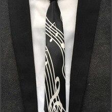 5 см галстук музыкальный нот галстук черный с белым g-clef Gravata в середине