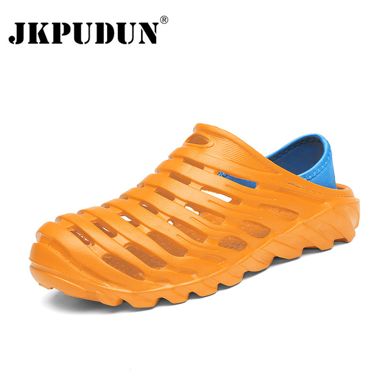 JKPUDUN Sandals Men Summer Hollow Out Breathable Beach Shoes Men Outdoor Sports Slippers Flip Flops Zapatillas Hombre Deportiva