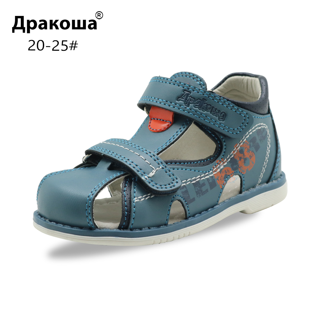 Apakowa Toddler Boys Summer Closed Toe Sandals Kids Adjustable 2 Strap Gladiator Sports Sandal Boy Beach Walking Trekking Shoes