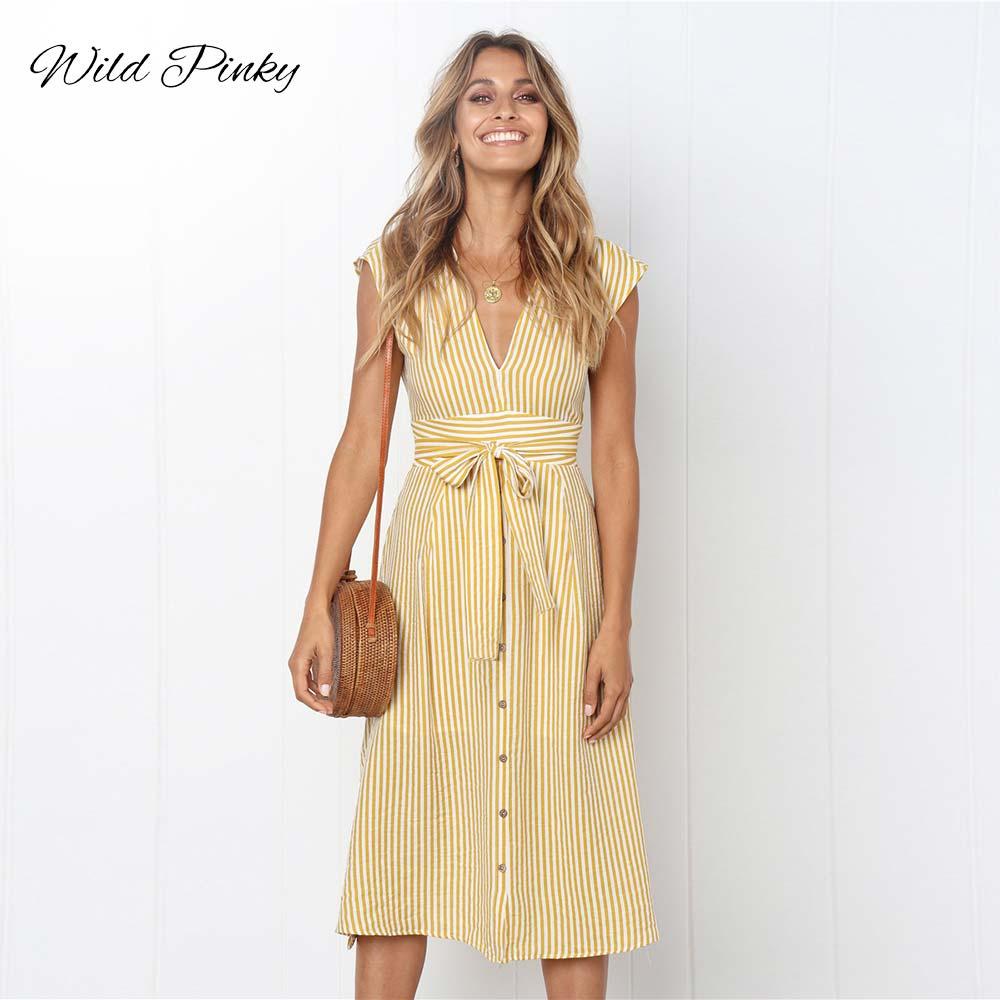 WildPinky Boho Style Striped Print Summer Dress Women Bow Tie Sashes Short Sleeve Retro Ladies Casual Chic Midi Dresses Vestidos
