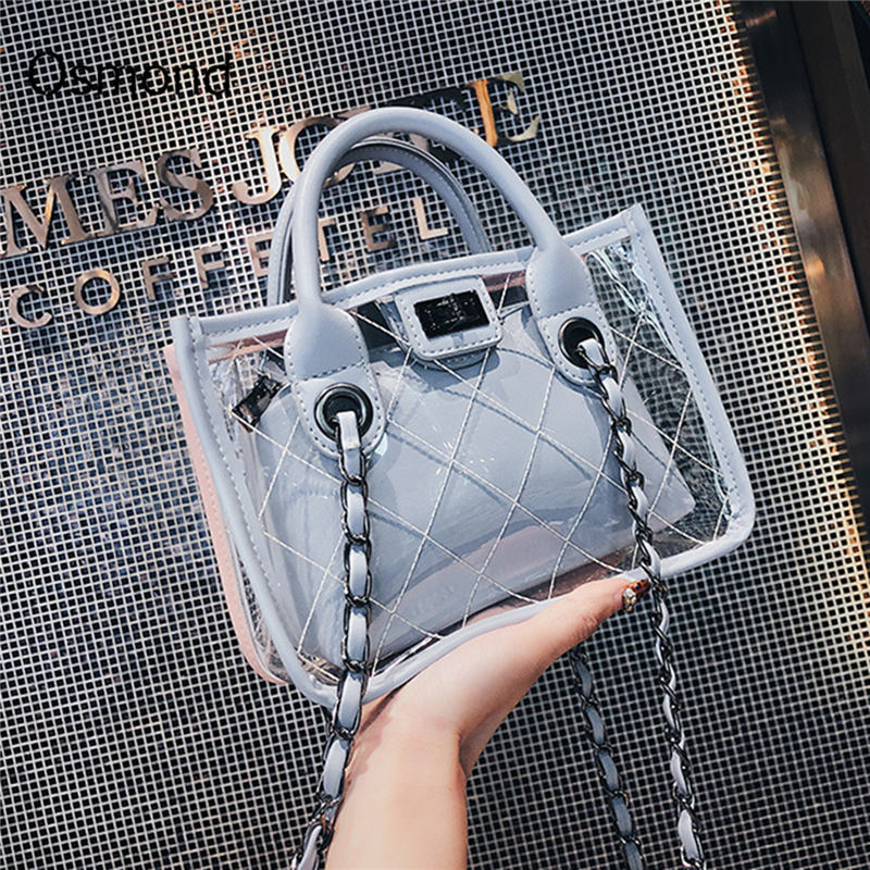 AEQUEEN 2018 Summer Transparent Trendy Composite Bag Female PVC Clear Handbag Lady Crossbody Bags Fashion Women Shoulder Tote алиэкспресс сумка прозрачная