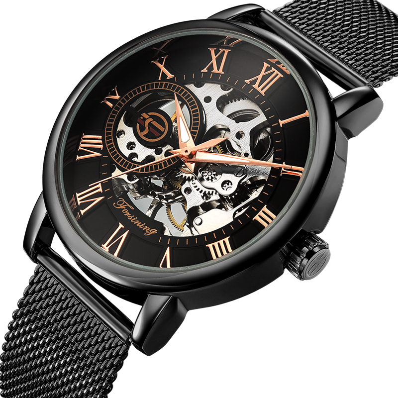 Fashion Men Watches Top Brand Luxury Mechanical Skeleton Business Watch Mechanical Hand Wind Ultra Thin Mesh Strap Men's Watch winner luxury ultra thin golden men auto mechanical watch mesh strap bird pattern skeleton dial top fashion style wristwatch