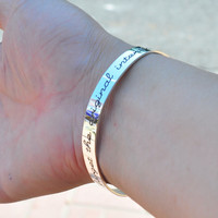 Engraving Handwriting Cuff Bangle Solid Silver Personalized Quote Words Signature Memory Jewelry pulseira