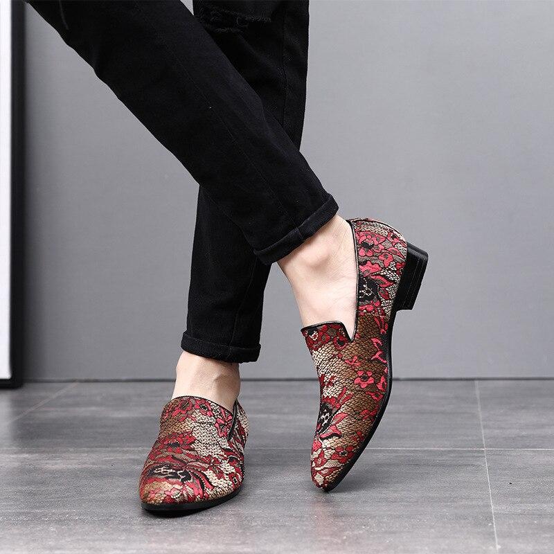 Mode Oxford Pointu Cuddlyiipanda Impression Hommes rouge Robe Soirée Conduite De Toile Noir Chaussures Bout Luxe Marque Mariage Mocassins rose Mocassin raZEanfqx