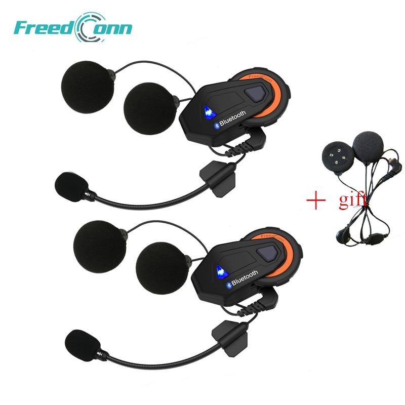 2 pcs Freedconn T-max Motorcycle Helmet Intercom Bluetooth Headset 6 Grupo de Pilotos Falando Rádio FM Bluetooth 4.1 + fone de Ouvido macio