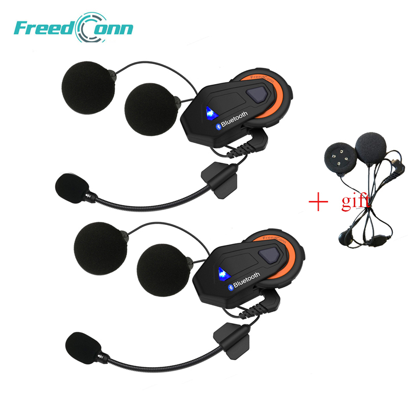 2PCS Freedconn T-max Motorcycle Intercom Helmet Bluetooth Headset 6 Riders Group Talking FM Radio Bluetooth 4.1 + Soft Earpiece