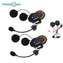 2 PCS Freedconn T-max Del Motociclo del Citofono Del Casco Auricolare Bluetooth 6 Riders Gruppo Parlare FM Radio Bluetooth 4.1 + morbido Auricolare