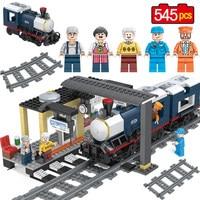 545PCS Designer City Train Passenger Platform Building Blocks Compatible LegoINGLY City Creator Figures Bricks Set Toys Gifts