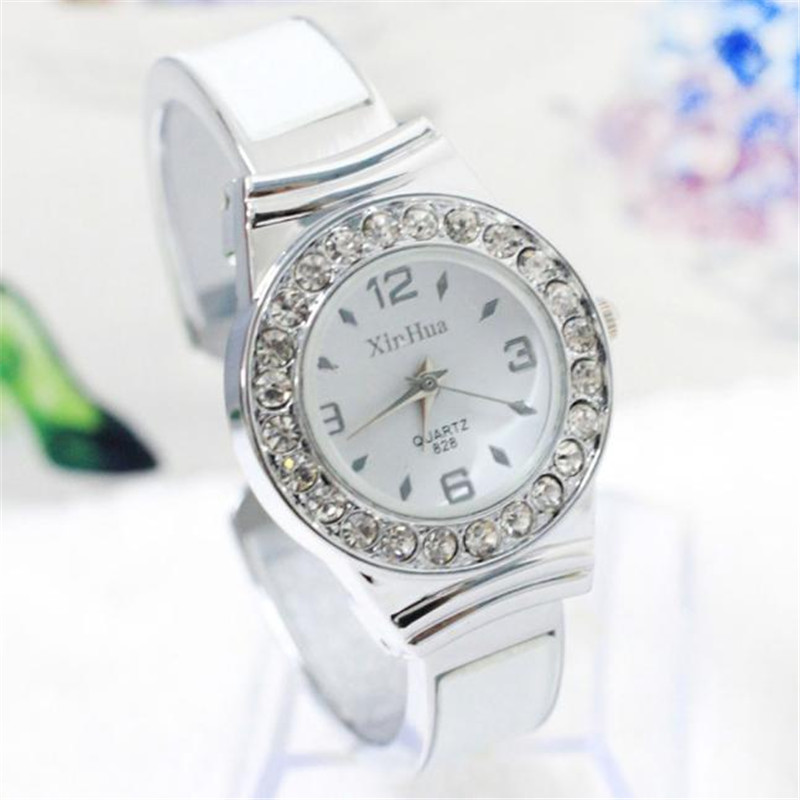 Fashion Watches Women Rhinestone Dial Bangle Cuff Analog Quartz Bracelet Wrist Watch Female Dress Watch Clock Hour Reloj Mujer