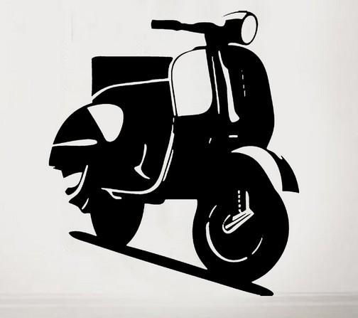 fasion vespa scooter wall sticker retro vehicle decal iconic mural