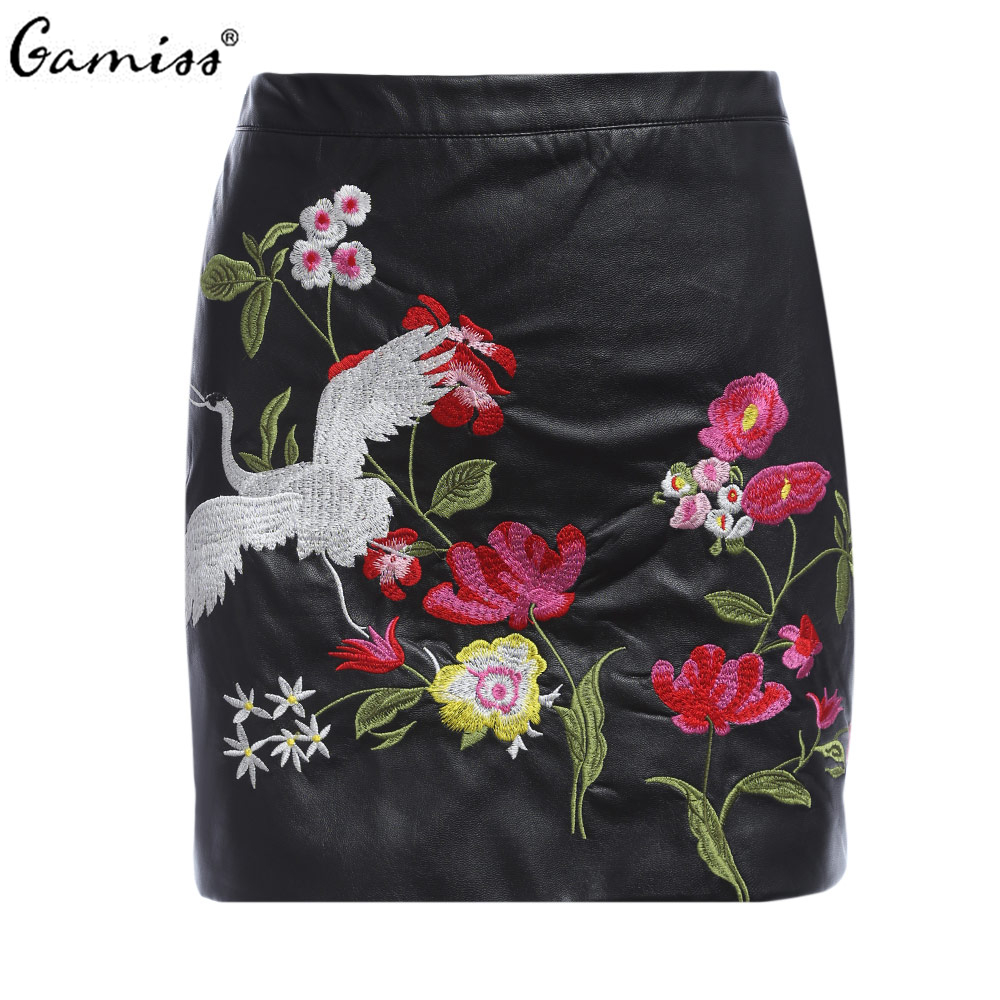 gamiss new faux pu leather skirts american floral