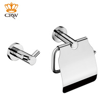 CRW Bathroom Accessories Set Wall Mounted Tolilet Paper Holder w/ Cover Towel Robe Hook Rack 2pcs/pack