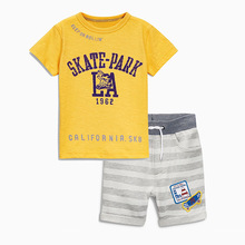 BINIDUCKLING 2017 New Summer Kids Clothes Baby Boy Clothes Set Toddler Baby Boys Clothing Set Cotton Letter cartoon Shorts
