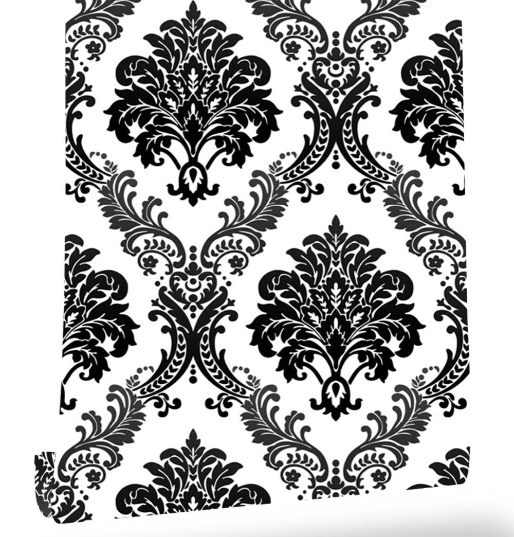 Haokhome Floral Damask Wallpaper Non Woven Wall 3d Rolls White/Black Textured For Living room bedroom home art decoration