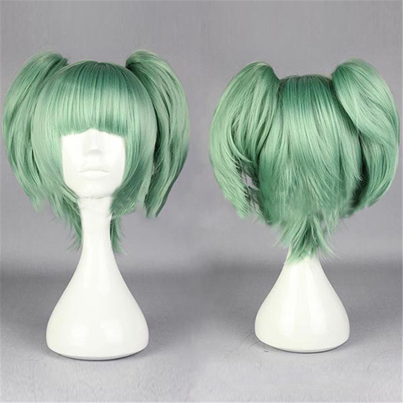 New Assassination Classroom Ansatsu Kyoushitsu Kayano Kaede Cosplay Short Green Party Wig Hair with Chip Ponytails On Sale!!