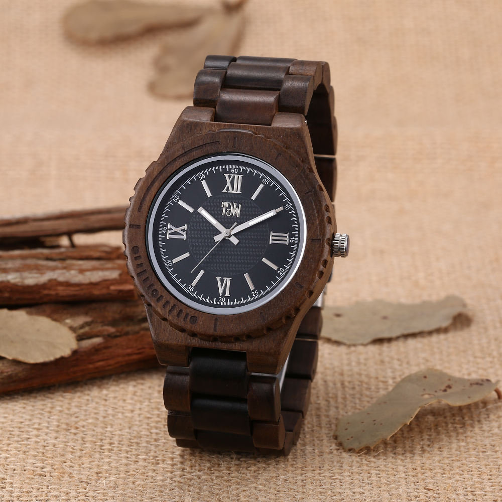 TJW  Male Natural Wooden Watches Men Antique Wood Watch Luxury Casual Quartz Wristwatch Shockproof Resistant relogio masculino bewell natural wood watch men quartz watches dual time zone wooden wristwatch rectangle dial relogio led digital watch box 021c