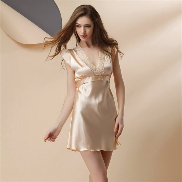 ccf7718af3 Hot Sale Sexy Nightwear Camison Sexy Mujer Lace Splicing Halterneck Short  Nightgown Plus Size Ladies Nightdress Women Sleepwear